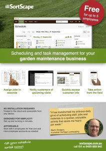 SortScape landscape maintenance scheduling flyer